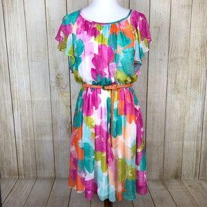 Calvin Klein Chiffon Floral Print Belted Dress 8